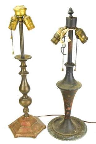 Antique Cast Iron Baluster Form Lamps Hubley