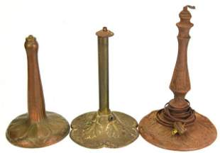 3 Antique Arts & Crafts Cast Iron Table Lamp Bases