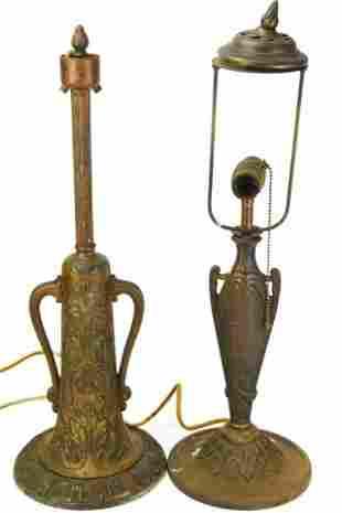 Cast Iron & Bronze Antique Art Nouveau Table Lamps