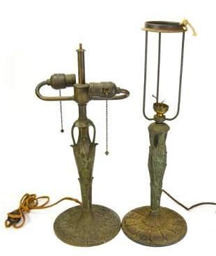 Two Antique Cast Iron Amphora Table Lamps
