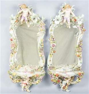 Pair Capodimonte Figural Mirrored Wall Sconces