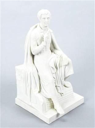 Antique Royal Copenhagen Bisque Statue Lord Byron