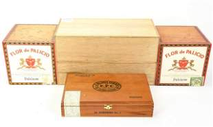5 Vintage Wooden Cigar Boxes