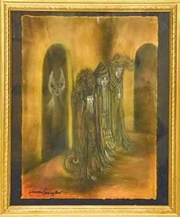 Leonora Carrington Surrealist Pastel Drawing