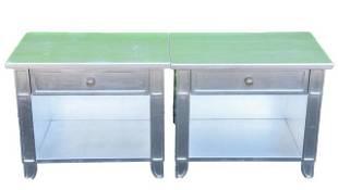 Pair Versace Pasha Silver Leaf End Tables