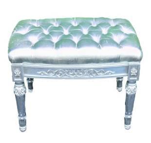 Versace Vanitas Silver Leaf Upholstered Stool