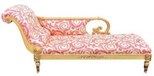 Versace Vanitas Gilt Upholstered Chaise Lounge