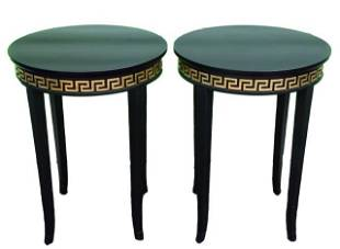 2 Versace Black Enamel Greek Key Motif End Tables