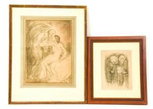 Albert Sterner Drawing & Kathe Kollwitz Print