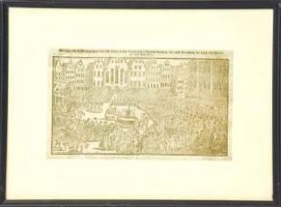 Framed 17th C German Engraving Of City Center