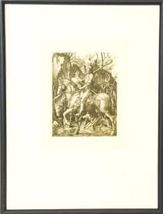 Albrecht Durer Engraving Knight Death & the Devil
