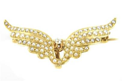 Antique 19th C 14kt Gold & Pearl Angel Wing Brooch