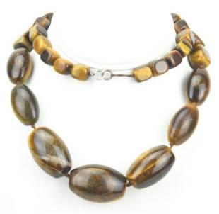 Vintage Natural Tiger's Eye Necklace w Large Beads
