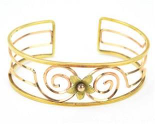Vintage Retro Gold Filled Floral Motif Bracelet