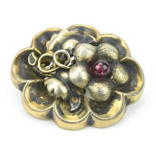 Antique 800 Silver & Garnet Floral Motif Brooch