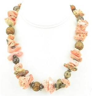 Sterling Coral & Smoky Quartz Beaded Necklace