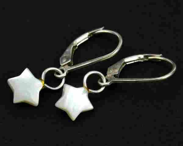 Pair Sterling Silver Mother of Pearl Star Earrings