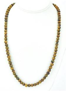 Estate Hand Carved Tiger's Eye Bead Necklace