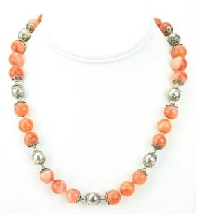 Sterling Silver & Scottish Agate Bead Necklace