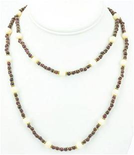 Coral & Garnet Beaded Necklace Strand