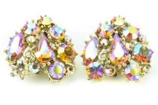 Lisner Costume Jewelry Rhinestone Clip on Earrings