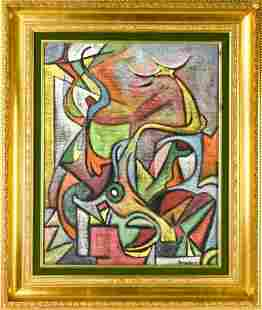 Framed Aldo Bonadei Cubist Oil on Canvas Painting