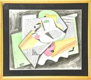 Bela Kadar Cubist Watercolor Sill Life Painting