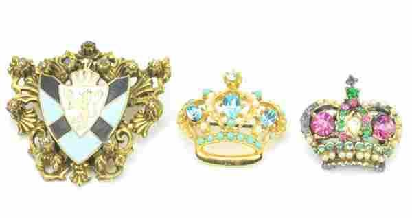 Vintage Costume Jewelry Crown & Shield Brooch Pins