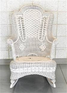Antique Victorian White Wicker Rocking Chair