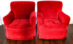 Pair Red Velvet Club Chairs