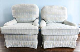 Pair Custom Upholstered Club Chairs