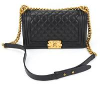 Chanel Quilted Caviar Calfskin Leather Boy Bag with