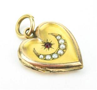 Antique 19th C Crescent Moon & Star Heart Locket.
