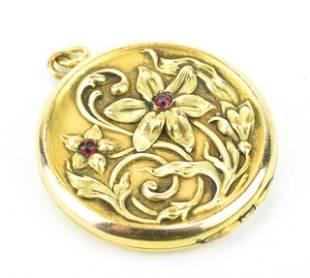 Antique C 1900 Art Nouveau Garnet Set Locket Necklace