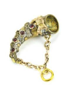 Antique 19th C Garnet Set Cornucopia Pendant. Yellow