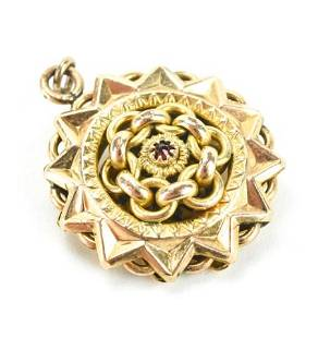 Antique 19th C Gold & Garnet Starburst Pendant.