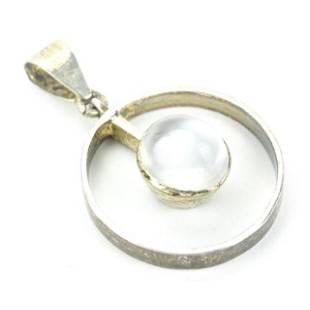 Estate Sterling Silver & Cabochon Moonstone Necklace