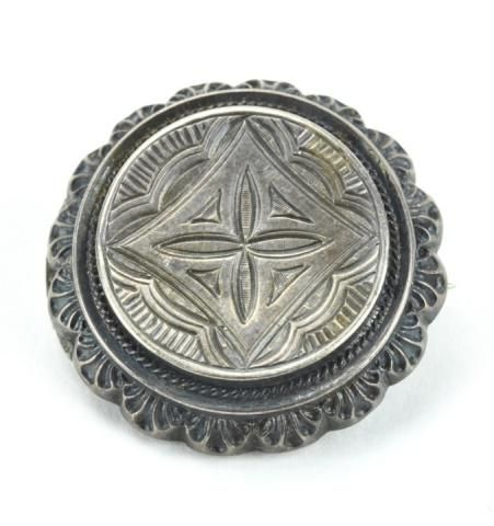 Antique 19th C Victorian Sterling Silver Brooch.