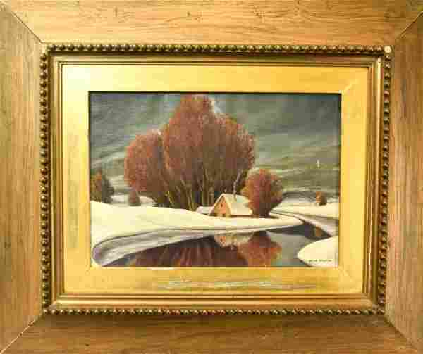 Antique Signed Winter Country Landscape Oil Painting.