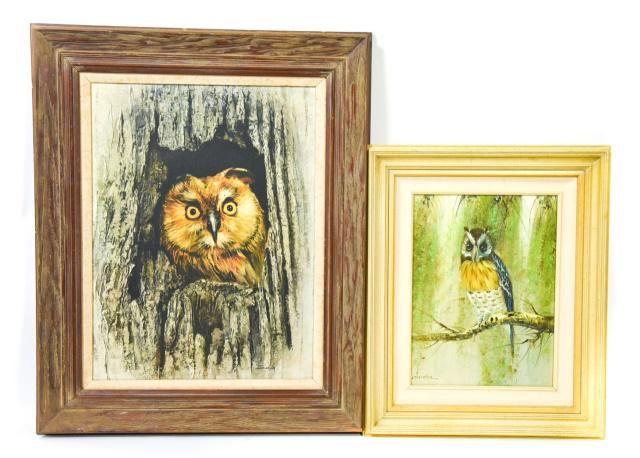 Two Framed Mid Century Owl Wildlife Oil Paintings On