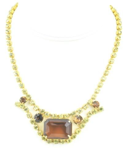 Vintage Costume Jewelry Gilt & Rhinestone Necklace.