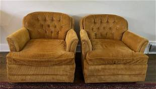 Pair Mid Century Tufted Corduroy Upholstered Club