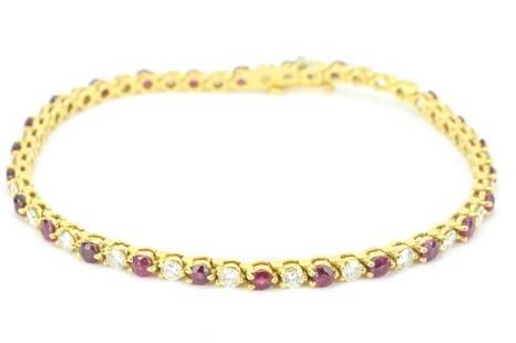 Tiffany & Co 18k Gold Diamond Ruby Tennis Bracelet