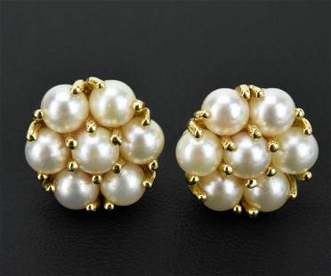 Pair of Estate Yellow Gold & Pearl Cluster Earring