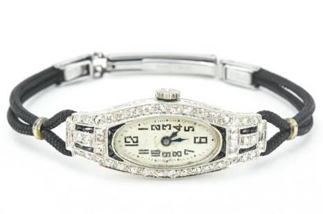 Antique Art Deco Era Platinum & Diamond Watch