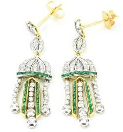 Estate Art Deco 18kt Gold Diamond Emerald Earring