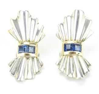 Art Deco 14kt Gold & Sterling Sapphire Earrings