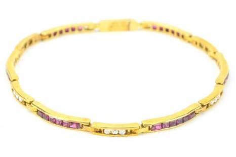 Estate 18kt Gold Diamond & Ruby Tennis Bracelet