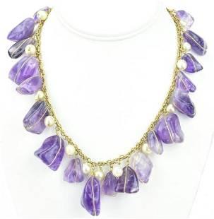 Vintage 200 Ct Amethyst & Baroque Pearl Necklace
