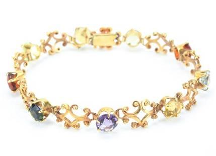 Estate 14kt Gold & Multi Gemstone Panel Bracelet